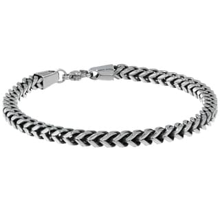 Stainless Steel Foxtail Chain Men's Bracelet, 9""