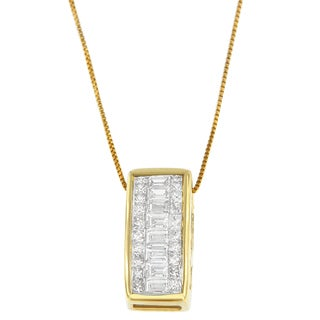 14k Yellow Gold 1/2ct TDW Round, Princess and Baguette-cut Diamond Rectangle Halo Pendant (H-I, SI1-SI2)