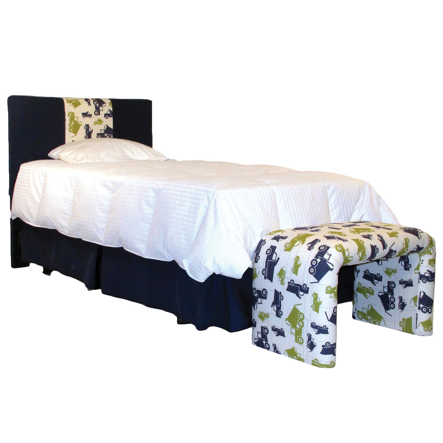 3 Panel Twin Headboard in Dump Truck Print and Navy Cotto...