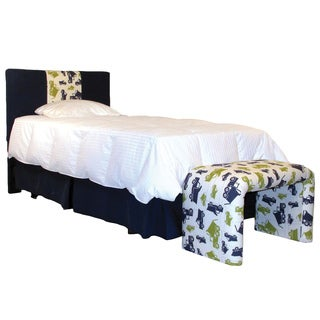 3 Panel Twin Headboard in Dump Truck Print and Navy Cotton