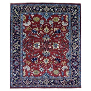 FineRugCollection Mahal Red /Blue Wool Handmade Rug (8' x 9'7)