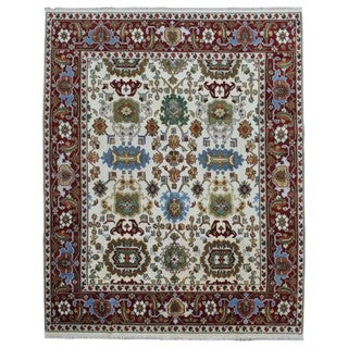 FineRugCollection Mahal Beige/Red Wool Hand-knotted Rug (7'10 x 9'10)