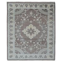 FineRugCollection Brown Wool Handmade Oushak Rug