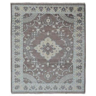 FineRugCollection Brown Wool Handmade Oushak Rug - 8'3 x 10'