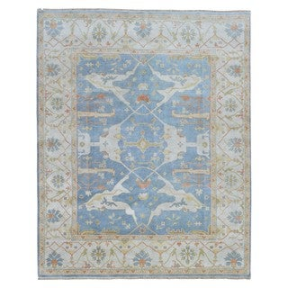 FineRugCollection Oushak Beige/Blue Wool Handmade Rug (8' x 9'10)
