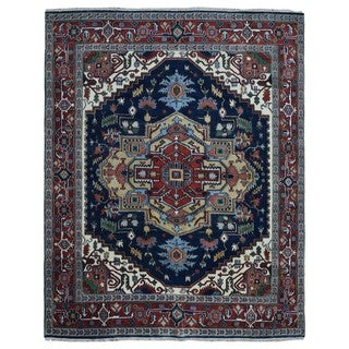 FineRugCollection Serapi Red and Blue Handmade Wool Rug (8' x 9'9)