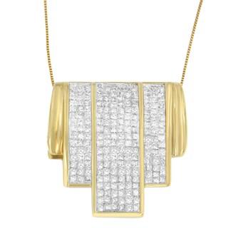 14k Yellow Gold 2 1/2ct TDW Princess-cut Diamond Waterfall Pendant (H-I, SI1-SI2)