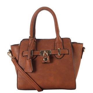 Diophy Women's Faux-leather Front Lock Mini Top Handle Handbag