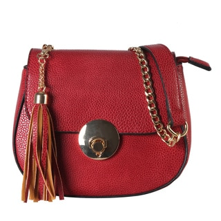 Diophy Faux-leather Saddle-style Tassled Chain Strap Mini Cross Body Handbag