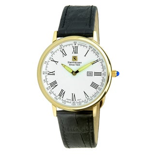"Steinhausen Classic Men's S0123 ""Altdorf"" Swiss Quartz Gold Tone Black Leather Band Watch"