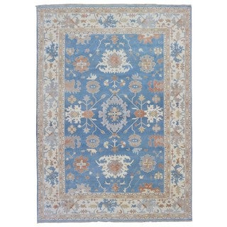 FineRugCollection Oushak Beige/ Blue Wool Handmade Rug (9'10 x 13'9)