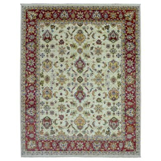FineRugCollection Peshawar Beige/Red Wool Handmade Rug (7'11 x 9'10)