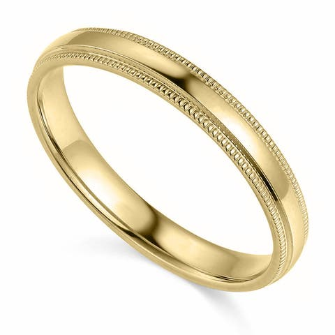 14k Yellow or White Gold 3 mm Polished Milgrain Comfort Fit Wedding Band