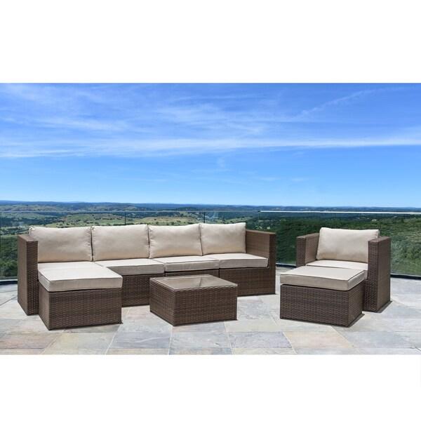 Corvus Trey Outdoor 8 Piece Brown And Beige Wicker Furniture Set With Gl Top