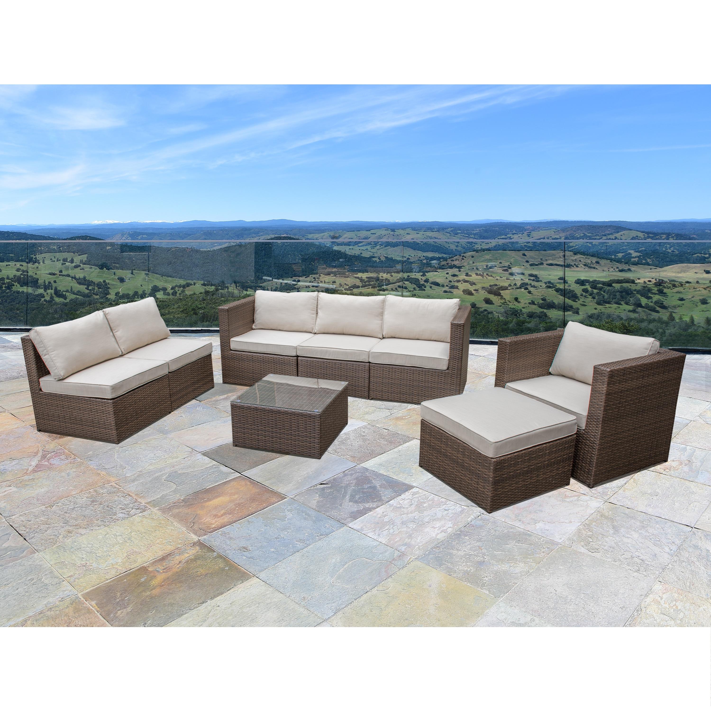 Corvus Trey 8-piece Brown Wicker Outdoor Furniture Set wi...
