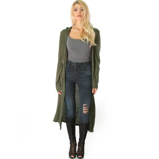 Lyss Loo Rayon Blend Long-line Hooded Cardigan