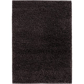 'Lagash' Midnight Grey Natural Wool Shag Rug (3'6 x 5'6) (As Is Item)