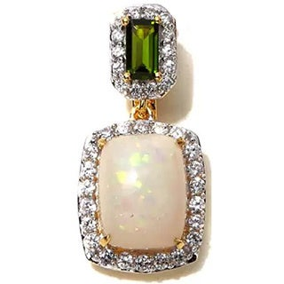 Sterling Silver Ethiopian Opal, Chrome Diopside and White Zircon Pendant