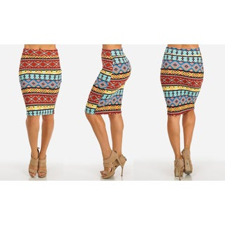 Women's Multicolor Polyester Stretchy High-waist Knee-length Printed Pencil Skirt