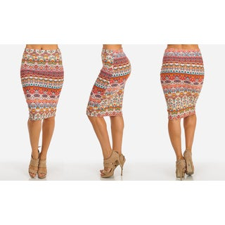 Women's Coral Polyester Stretchy High-waist Midi-length Printed Pencil Skirt
