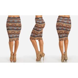 Stretchy High Waist Midi-Length Printed Pencil Skirt