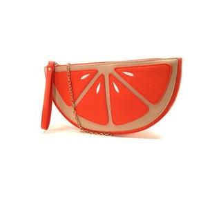 Pink Haley Orange Slice Faux Leather Clutch Handbag