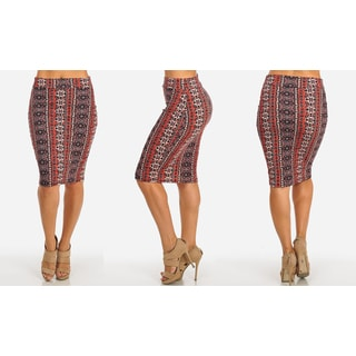 Women's Black Stretchy High-waist Midi-length Printed Pencil Skirt