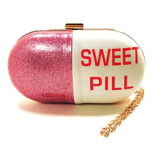 Pink Haley Pink Silver Faux Leather 'Sweet Pill' Clutch Handbag