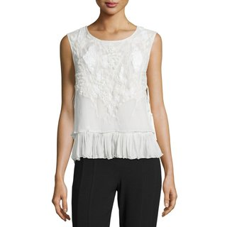Elie Tahari Women's Carlyn White Silk Beaded Blouse