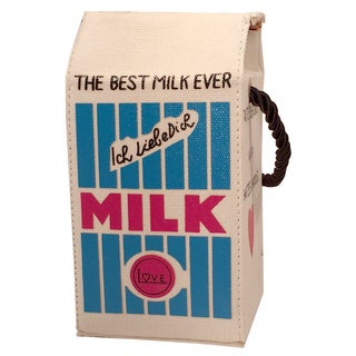 Pink Haley Milk Carton Canvas Clutch Handbag
