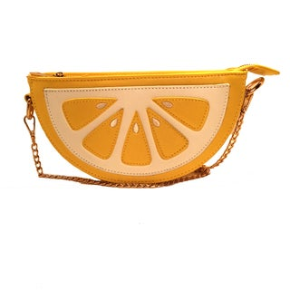 Pink Haley Women's Lemon Slice Yellow Faux Leather Clutch Handbag