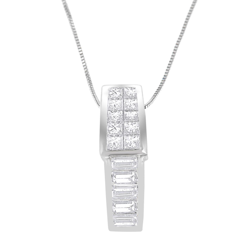 "2.50 Ct Princess Diamond Drop Pendant Necklaces 18/"" Chain 14K White Gold Finish"