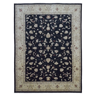 FineRugCollection Navy Wool Hand-knotted Peshawar Rug (9' x 11'10)