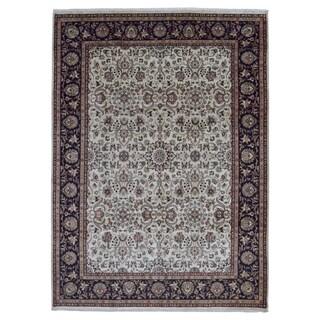Fine Rug Collection Handmade Tabriz Beige, Black Wool Rug (9' x 12'4)