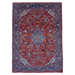 FineRugCollection Antique Kashan Red/Blue Wool Rug (7'10 x 10'10)