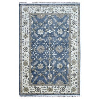 FineRugCollection Oushak Beige/Blue Wool Handmade Rug (6'1 x 8'9)