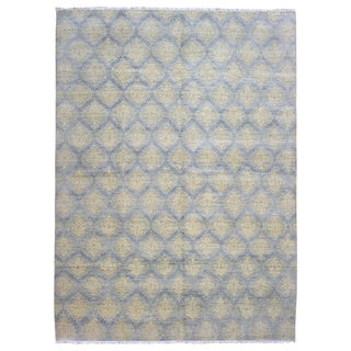 FineRugCollection Oushak Grey/Green Wool Handmade Rug (10' x 13'7)