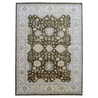 FineRugCollection Oushak Green/Beige Wool Handmade Rug (10'2 x 14'2)