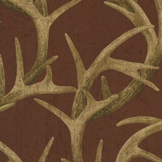 Brewster Red Antler Damask Wallpaper