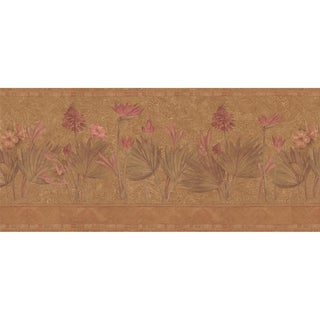 Brewster Marsala Vinyl Tropical Flower Border