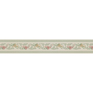 Brewster Light Green Vinyl Floral Scroll Border