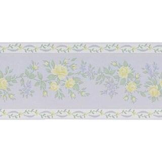 Brewster Purple Vinyl Floral Wallpaper Border