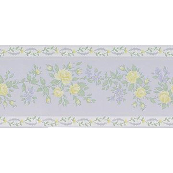 Brewster Purple Vinyl Floral Wallpaper Border