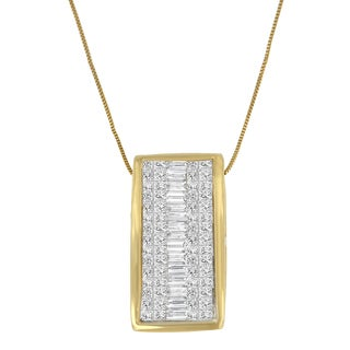 14k Yellow Gold 1 2/5ct TDW Princess Baguette Diamond Rectangle Halo Pendant (H-I,S1-S2)