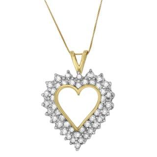 10k Yellow Gold 3ct TDW Round and Princess-cut Diamond Open Heart Pendant (I-J, I1-I2)