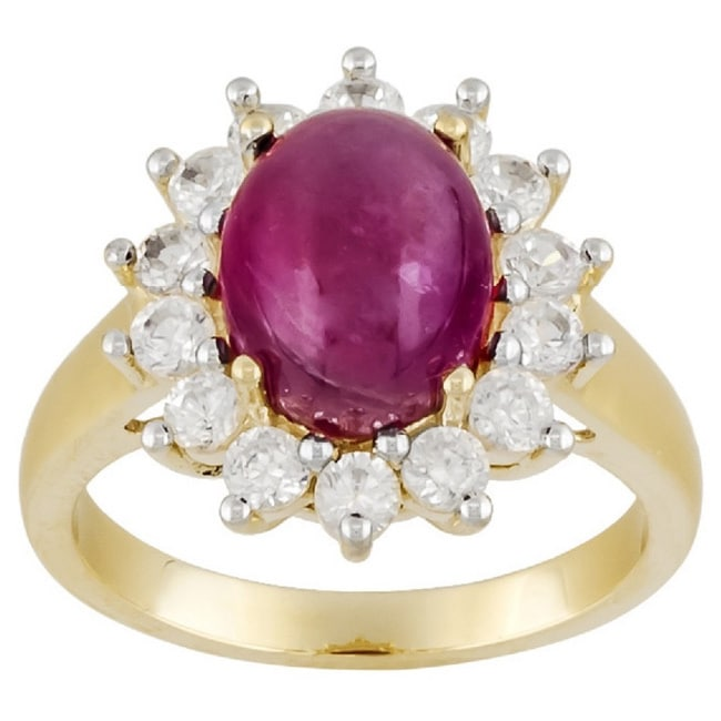 10k Yellow Gold Glass Filled Ruby and White Zircon Ring (...