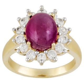 10k Yellow Gold Glass Filled Ruby and White Zircon Ring