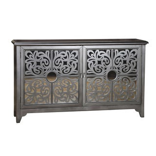Hand Painted Distressed Silver Finish Credenza with Mirrored Doors