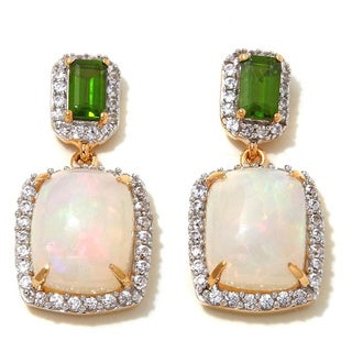 Sterling Silver Ethiopian Opal, Chrome Diopside and White Zircon Earrings