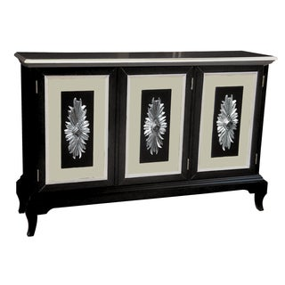 Glossy Black Finish Credenza with White and Tan Accents